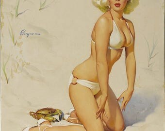 Pin Up Girl Art Print Reproduction, Claws_for_alarm_1958 by Gil Elvgren