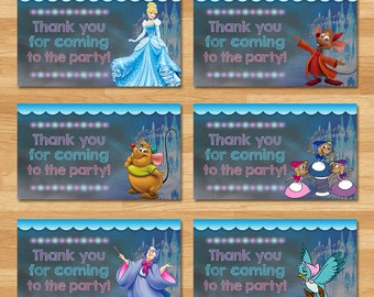 Cinderella Party Tags - Chalkboard - Cinderella Thank You Tags - Disney Princess Favors - Princess Cinderella Printables - Cinderella Party
