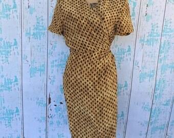 Vintage Maggy London Kenneth Nolan 100% silk wrap dress size 12