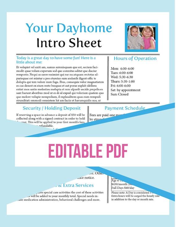 Daycare Form. Sample Daycare Employment Application Form Sample ...