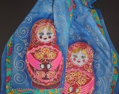 Hand painted silk scarf,Russian scarf matryoshka,Blue Chiffon scarf,Russian doll,Russian shawl,Painted Long Silk scarf,Gift for russian