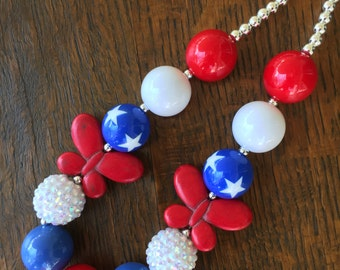 Red, White and Blue Stars and Butterflies Bubblegum Chunky Necklace