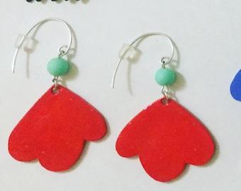 Red bird earring