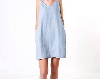 Linen Tank Dress,  Bluish Grey Linen Dress, Loose Linen Dress, Linen Dresses for woman, Linen Tunic Dress, Spaghetti Strap Linen Dress