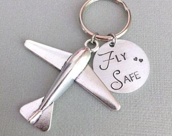 Fly Safe Keychain, Airplane Charm, Pilot Gift, Good Luck Charm, Traveller Keychain, Long Distance Keychain, Farewell Gift, Man Keychain
