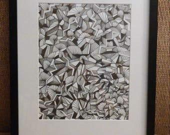 "Framed Art Print Psychedelic Black and White Line Art ""Lightning Fans"""
