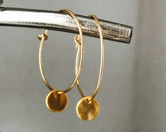 Gold Coin Earrings, Gold Disk Earrings, Charm Earrings, Minimalist Earrings, Hoop Earrings, Coin Earrings