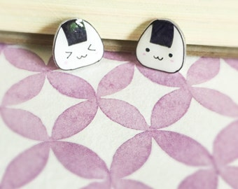 Kawaii Onigiri Rice Handmade Stud Earrings, Cute Food Earrings, Rice Ball Studs, Rice Roll Studs, Gift for Her