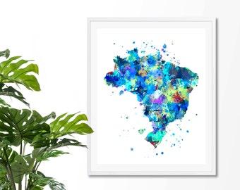 Brazil Watercolor Map 1 Art Print, Poster, Wall Art, Contemporary Art, Modern Wall Decor, Office Decor