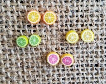 Citrus Fruit,Polymer Stud Earrings,Orange,Grapefruit,Lemon,Lime,Citrus Earrings,Fruit Earrings,Fruit Stud Earrings,Citrus Studs,Summer Fruit
