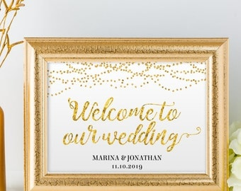"Printable Gold Foil Look Welcome String Lights Wedding or Event Sign, 2 Sizes: 14""X11"" and 10""x8"", Editable PDF, Instant Download"