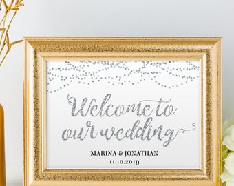 "Printable Silver Foil Look Welcome String Lights Wedding or Event Sign, 2 Sizes: 14""X11"" and 10""x8"", Editable PDF, Instant Download"