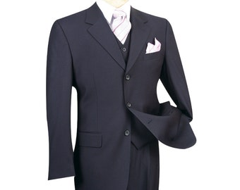 Classic-fit men's suit 3 piece suit 3 bottons solid navy suits new with tag