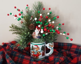 Christmas Greenery Arrangement  Vintage Love Mug Teddy Bear Skunk and Animals with Resin Teddy Bear and Skunk on Back Free Shipping