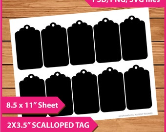 "Scalloped  Tag Template Instant Download PSD, PNG and SVG Formats  8.5x11"" Digital  Print Your Own Diy Printable blank middle tag size No.46"