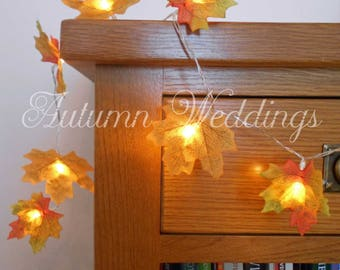 Autumn Fairy Lights 1-10m String Lights -  Autumn Leaves Wedding Decorations - Battery Operated LED Garland - Yellow Leaf Wedding Decor