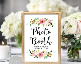 Photo Booth Sign, Photo Booth Wedding Sign, Photo Booth Grab a Prop and Strike a Pose Sign, Photo Booth Instant Download Sign, PDF Template