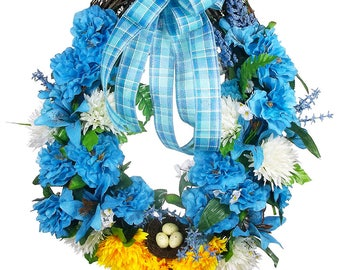 Blue Floral Wreath - Mothers Day Wreath - Everyday Wreath - Front Door Wreath - Mothers Day Gift - Housewarming Gift