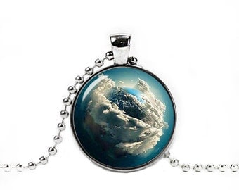 Planet Earth Round Pendant with Necklace Space Necklace Nebula Jewelry Galaxy necklace