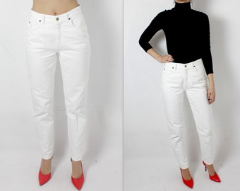 Womens White Lee Jeans Vintage Lee Jeans 80s 90s Lee Jeans High Waist Jeans White Jeans Denim Trousers Mom Jeans Hipster Urban Size 30-31