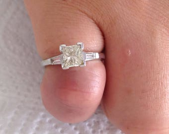 Certified 1.15 CT Princess Cut and Baguette Cut Diamond engagement Ring 14k white gold  hand made