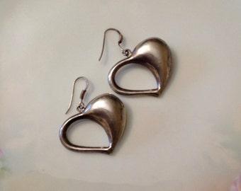 Sterling Silver Modernist Puffy Heart Earrings