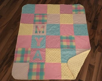 Personalized Baby Quilt Handmade | Minky Baby Blanket | Baby Gift