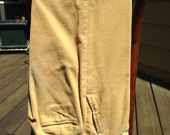 Super Yuppie ORVIS Wide Unisex Corduroy Pants - 31/32 Waist - Suspender Buttons and Full Cuffs- small