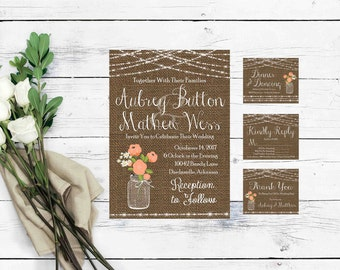 Printable Wedding Invitation Set- Wedding Invites- Rustic Wedding Invitation- Wedding Invitation Template- Mason Jar Wedding Invitations