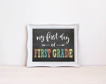 """First Day Of First Grade Chalkboard Sign 