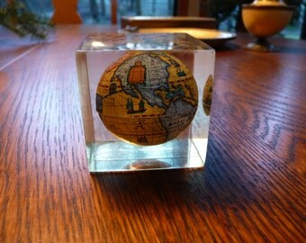 Vintage Retro Old Globe Lucite Paper Weight