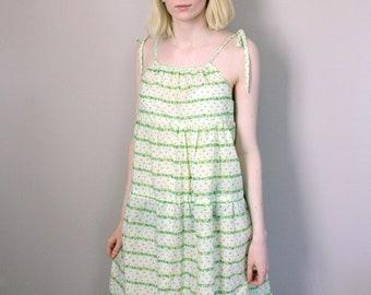 Vintage Pale Green Floral Summar Mini Dress - Small