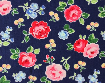 Pam Kitty Picnic by Holly Holderman for Lakehouse Dry Goods - Floral with Cherries - Half Yard