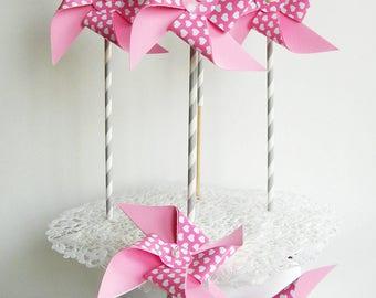Paper pinwheels 6 PCs. Pink pinwheels.