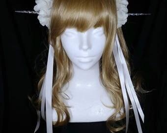 Icicle white ivory flowers headband