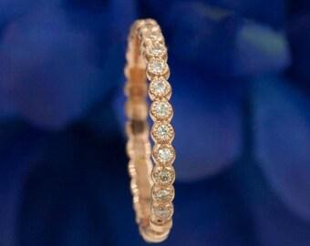 Diamond Wedding Band.Beaded Diamond Ring.Dainty Stacking ring.Minimalist ring Rose Gold Band.0.15ct Natural Diamond.14K Solid Gold Bead ring