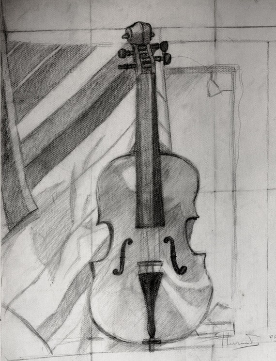 Violin Still life Pencil Sketch Study Original Drawing on