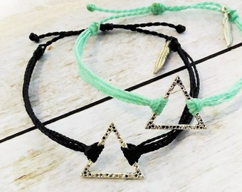 Triangle Charm Bracelet, Wax Cord Bracelet, Waterproof Bracelet, Adjustable Friendship, Boho Surfer Bracelet, Stackable Beach Bracelet