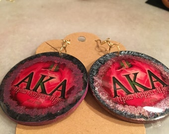 AKA sorority earring, wooden weightless, resin coated, 2 inch round, dangle earrings, pink and green, rose theme,Afrocentric theme,elegantly