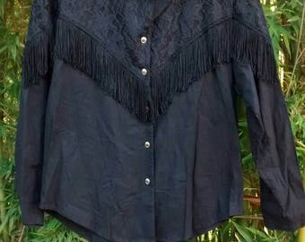 Goth Ranchera: Eighties Black Lace and Fringe Cowgirl Shirt by Circle T