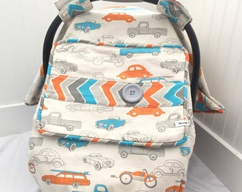 Vroom Vroom - Cars - Car Seat Cover Boy - Car Seat Cover Girl - Baby Car Seat Canopy - Baby Boy - Baby Girl - Baby Shower Gift - Car