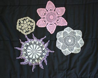 Set of Vintage Doilies, crocheted vintage doilies in spring colors