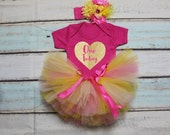 One Today Baby Girls Outfit Set Pink Yellow Tutu Gold Metallic Print Pink Vest Bodysuit Onesie