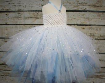 White and Blue Silver Stars Super Full Tutu Girls Dress Party Cake Smash Party Frozen Princess Elsa Cinderella