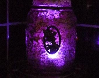 Mushroom fairy jar / candle holder / fairy night light jar / mushroom fairy lights. Woodland forest LED handmade lantern. Desk tidy / holder