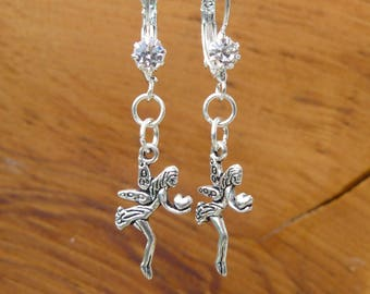 Silver Fairy earrings made with Rhinestone French hooks / lever back ear wires. Gift bagged & tagged. Glow in the dark Gift tag.