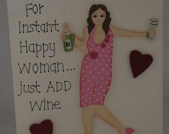 Best Friend 3D Card For Instant Happy Woman Add Wine Special Friend Friendship Keepsake F1134A