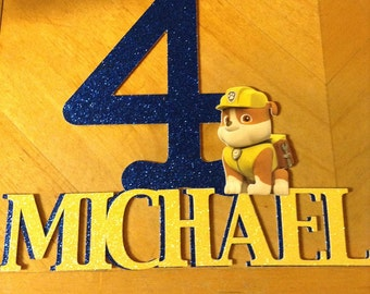 Paw Patrol/Rubble Personalized Cake Topper