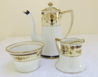 Art Nouveau Style Cobalt Blue and Gold Noritake Coffee Service