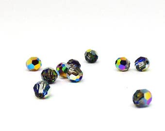12 Crystal Beads, 4mm Swarovksi Round Bead, Crystal Vitrail Medium, Faceted Bead, Loose Beads, Jewelry Supplies, Loose Crystals, Diy, YC5282